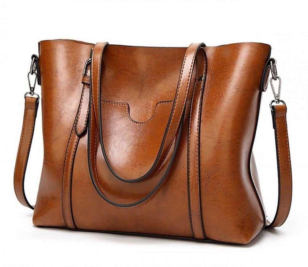 Bolso de cuero marrón