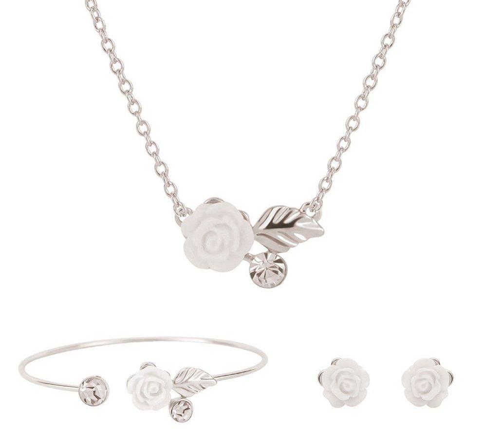 Conjunto de joyas flor blanca