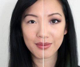 Diferencia ojos pequeños maquillados y sin maquillar