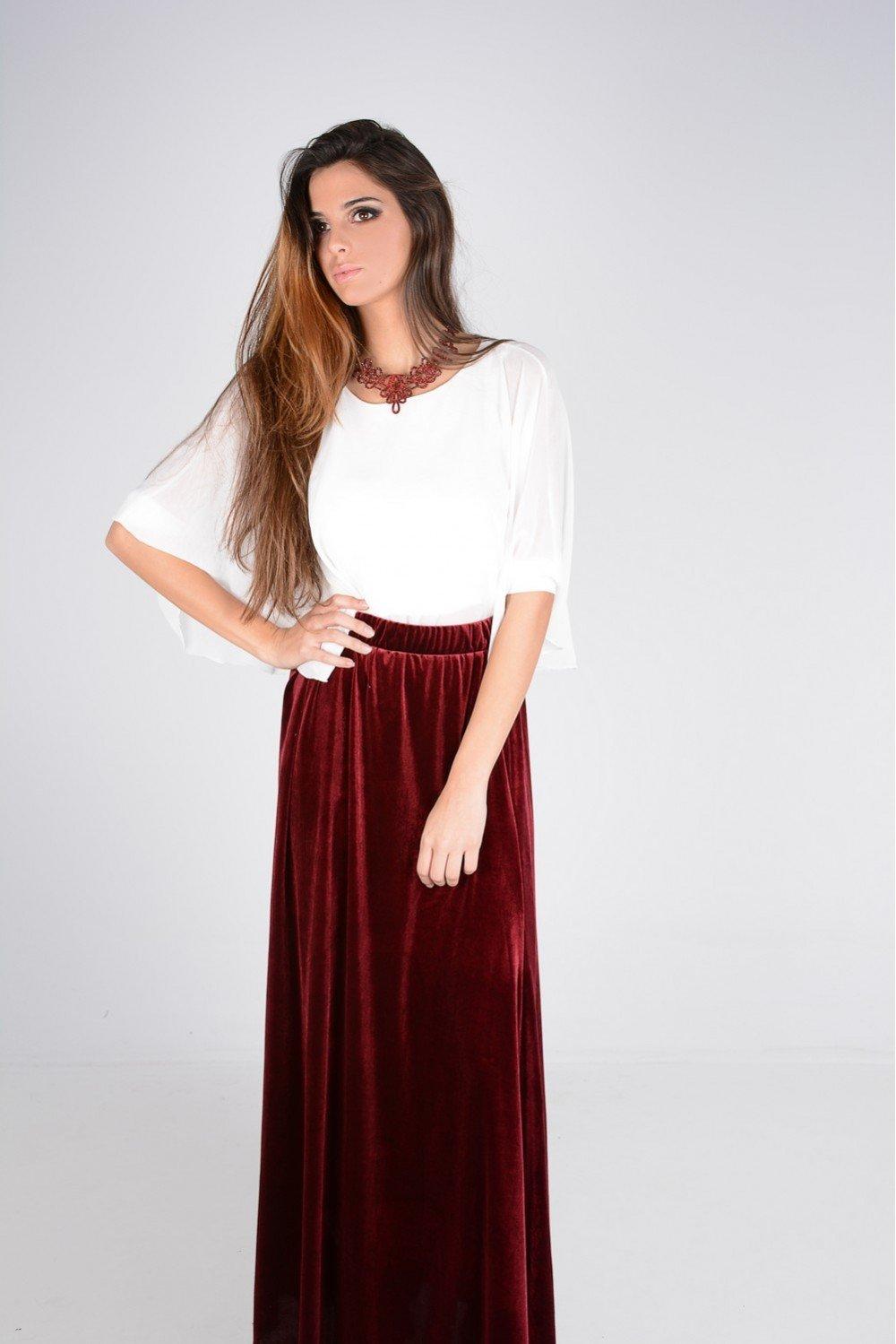 Falda larga de terciopelo