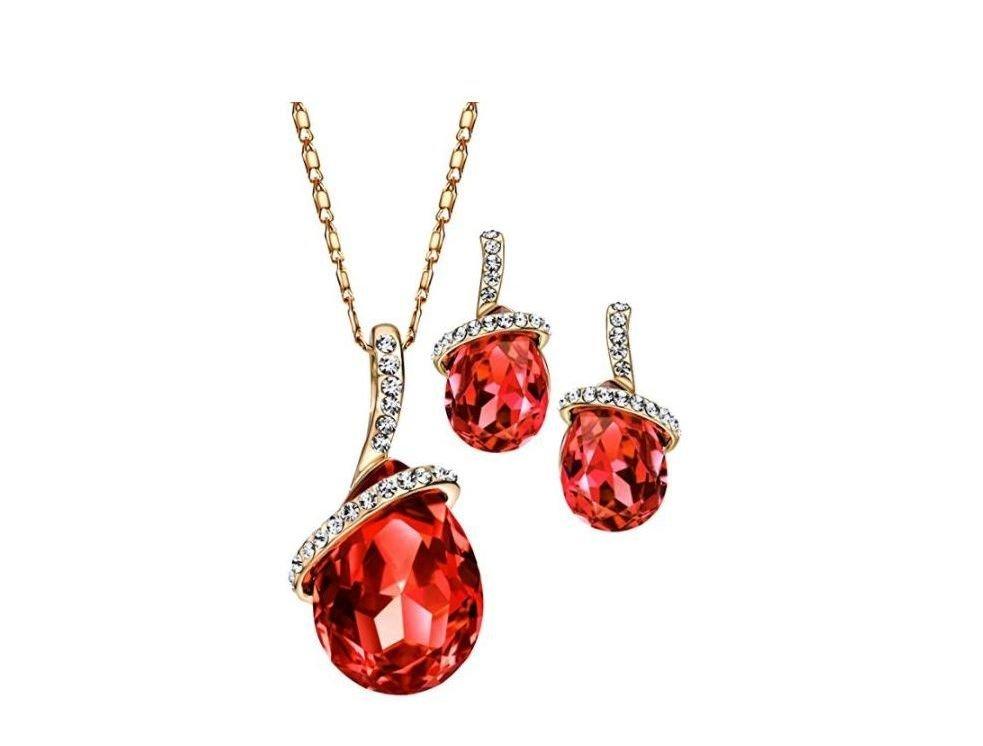 Joya con cristales rojos