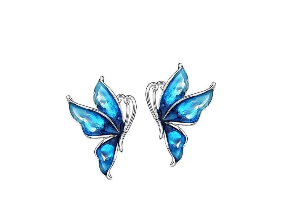 Pendientes mariposa azul