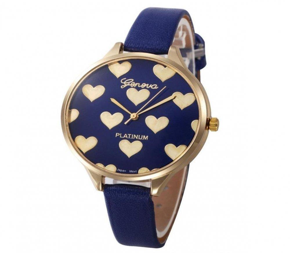 Reloj en azul corazones